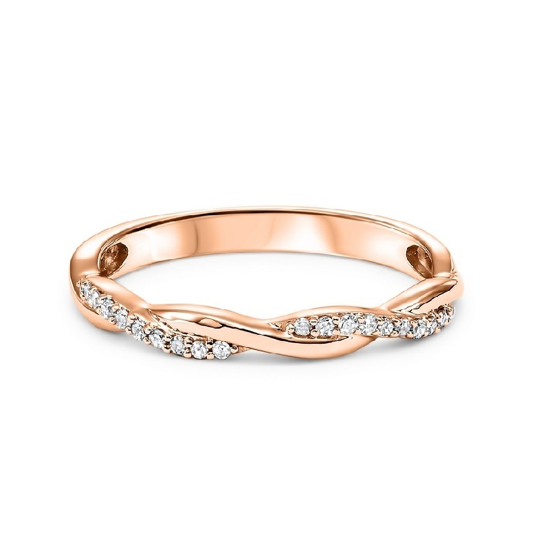 14K Rose Gold Stackable Prong Diamond Band (1/10 ct. tw.) Moseley Diamond Showcase Inc Columbia, SC