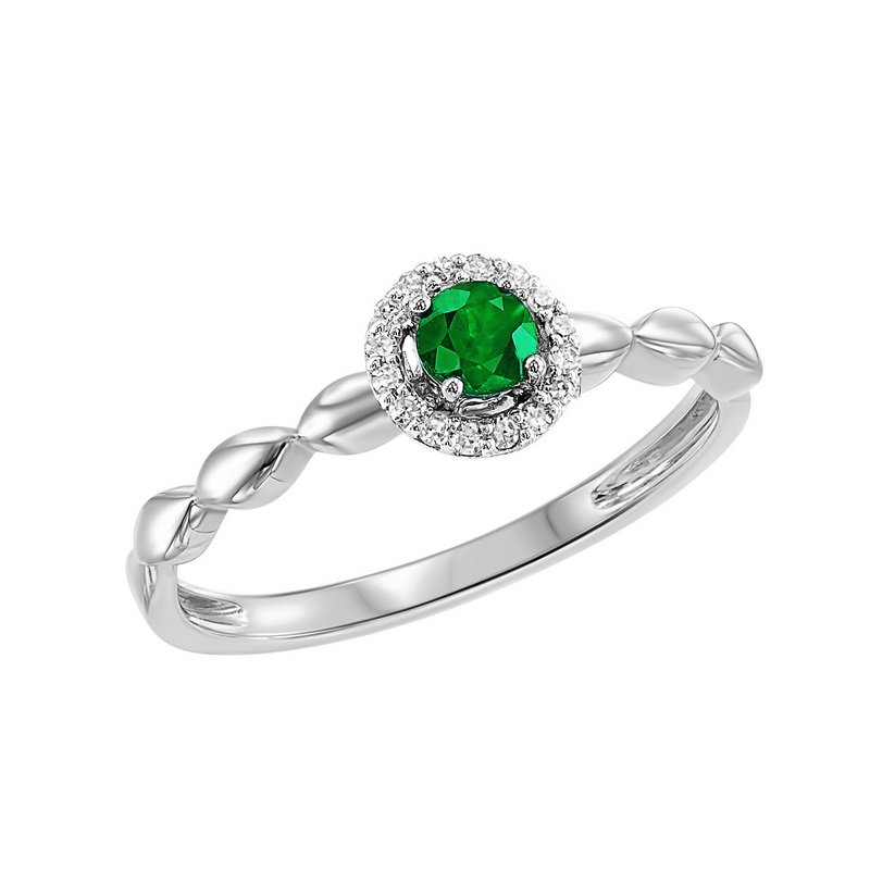 10K White Gold  Prong Emerald Ring (1/15 ct. tw.) Moseley Diamond Showcase Inc Columbia, SC