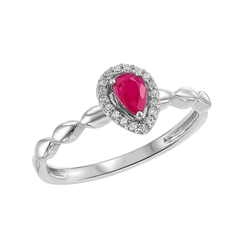 10K White Gold  Prong Ruby Ring (1/14 ct. tw.) Moseley Diamond Showcase Inc Columbia, SC