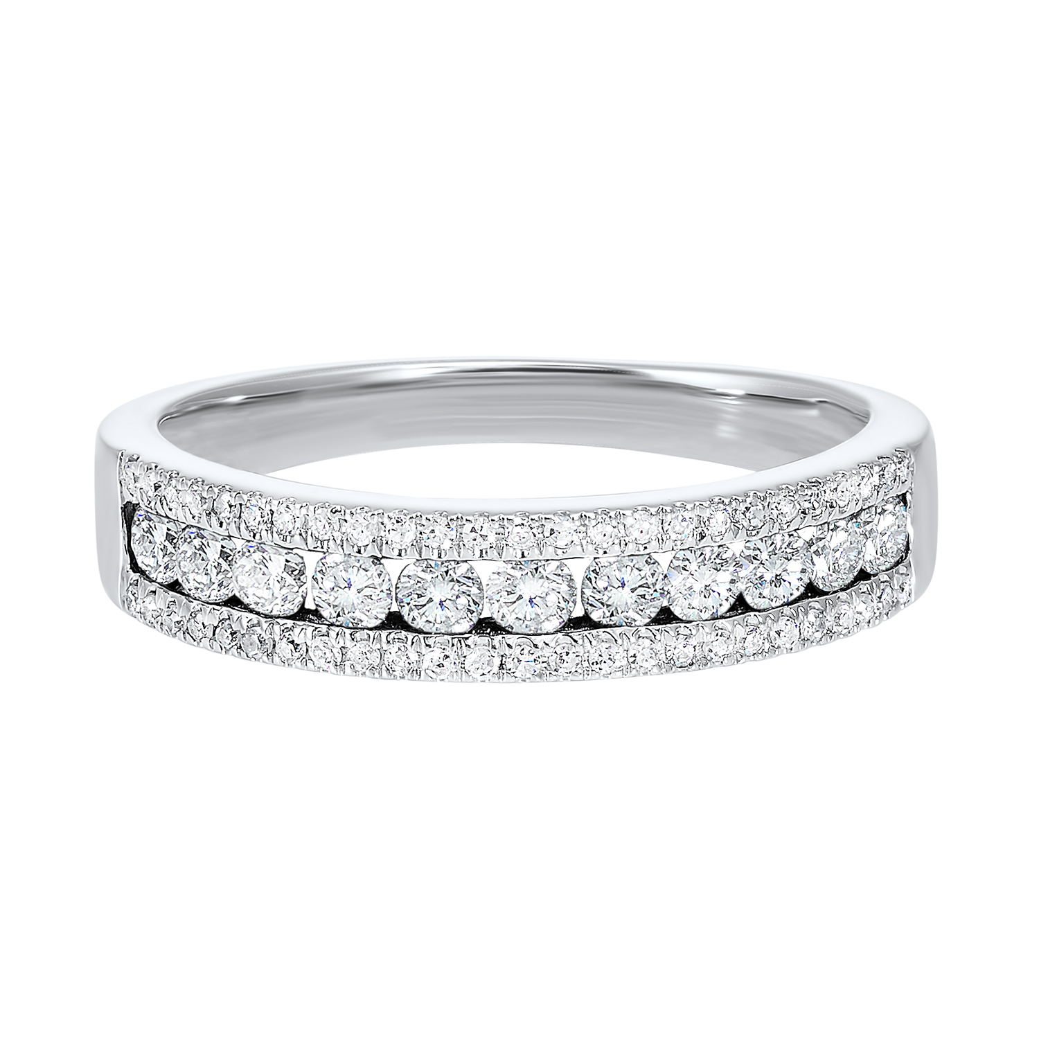 14K White Gold 3 Row Multi Channel Diamond Band (1/2 ct. tw.) Moseley Diamond Showcase Inc Columbia, SC