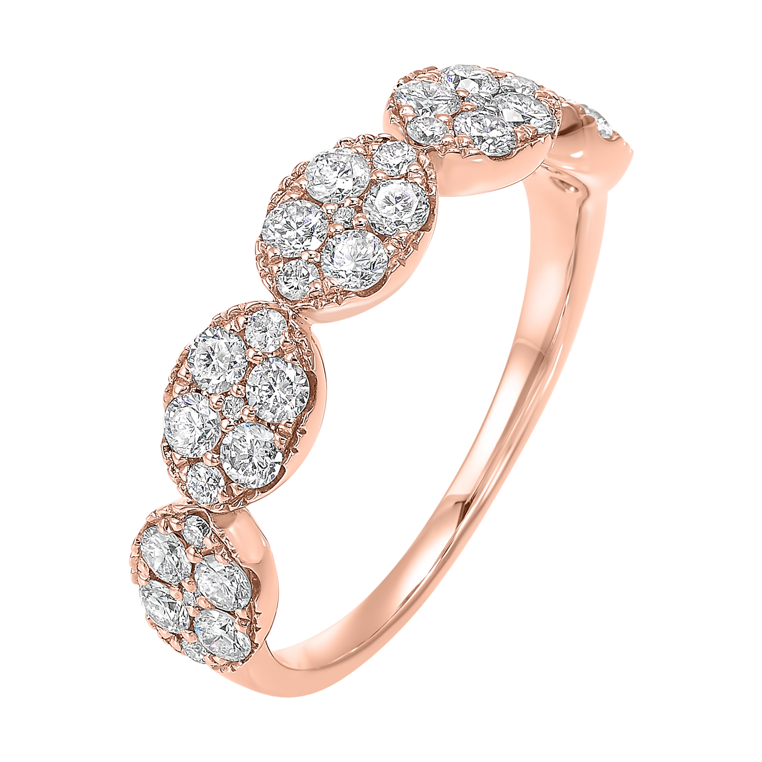 Five Station Oval Diamond Ring in 14K Rose Gold (3/4 ct. tw) Moseley Diamond Showcase Inc Columbia, SC