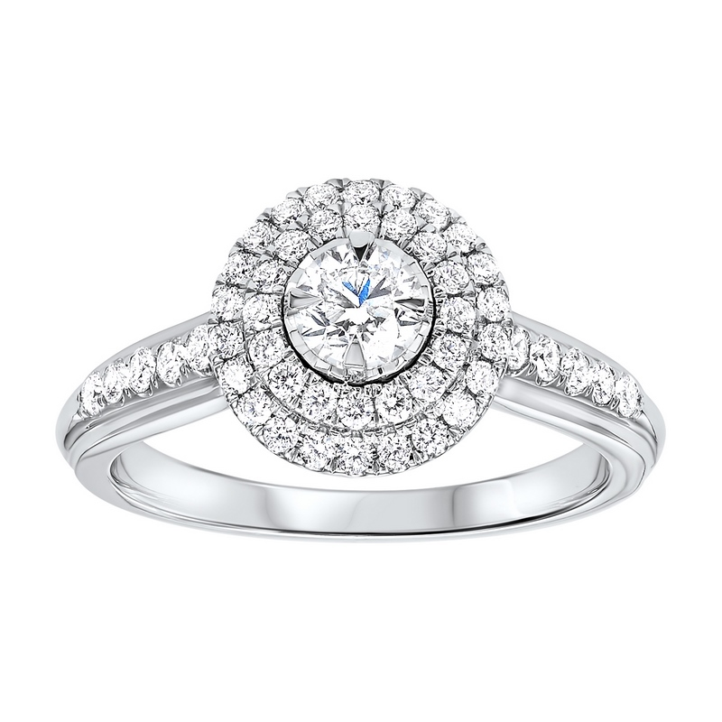 14K White Gold Tru-Reflections Round Double Halo Prong Ring (3/4 ct. tw.) Moseley Diamond Showcase Inc Columbia, SC