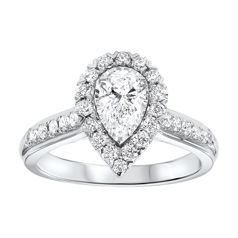14K White Gold Tru-Reflections Pear Halo Prong Ring (1 ct. tw.) Moseley Diamond Showcase Inc Columbia, SC