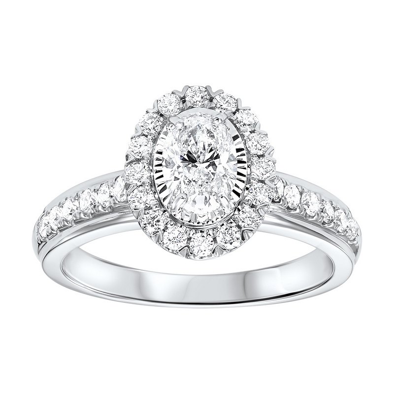 14K White Gold Tru-Reflections Oval Halo Prong Ring (1 ct. tw.) Moseley Diamond Showcase Inc Columbia, SC