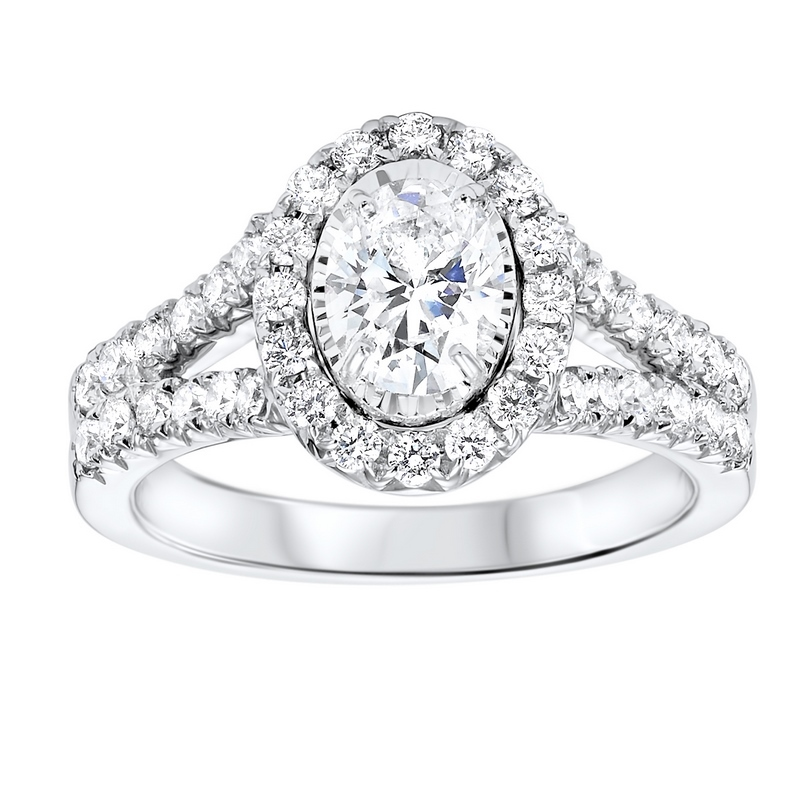 14K White Gold Tru-Reflections Oval Halo Prong Ring (1 1/2 ct. tw.) Moseley Diamond Showcase Inc Columbia, SC