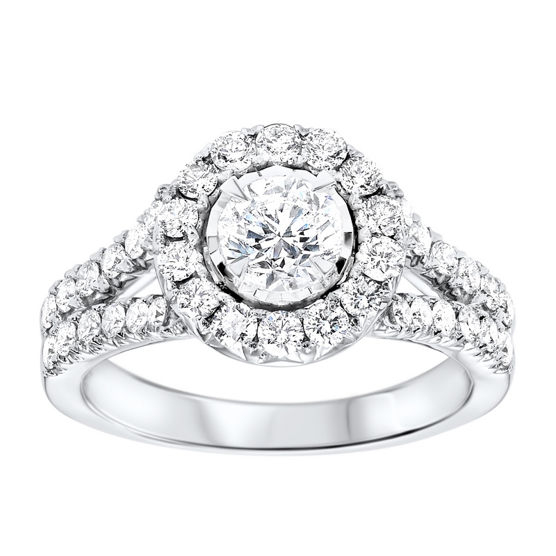 14K White Gold Tru-Reflections Round Halo Prong Ring  1 (5/8 ct. tw.) Moseley Diamond Showcase Inc Columbia, SC