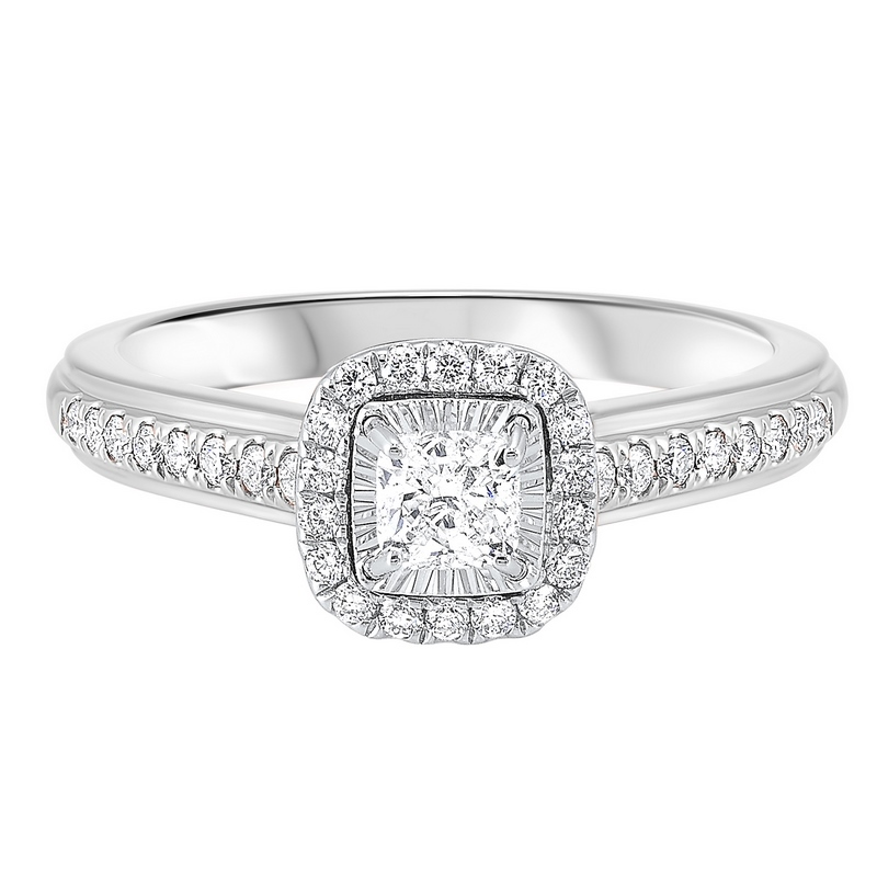 14K White Gold Tru-Reflections Cushion Halo Prong Ring 2/(3 ct. tw.) Moseley Diamond Showcase Inc Columbia, SC