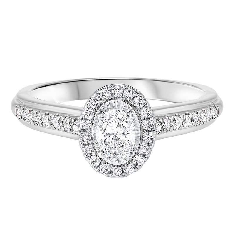 14K White Gold Tru-Reflections Oval Halo Prong Ring (3/5 ct. tw.) Moseley Diamond Showcase Inc Columbia, SC