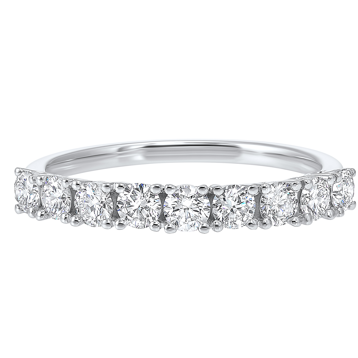 14K White Gold 9 Stone Prong Diamond Band (3/4 ct. tw.) Moseley Diamond Showcase Inc Columbia, SC