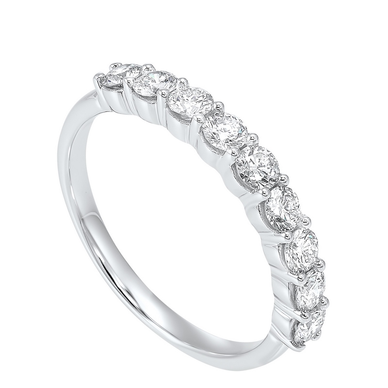 14K White Gold 9 Stone Shared Prong Diamond Band (3/4 ct. tw.) Moseley Diamond Showcase Inc Columbia, SC