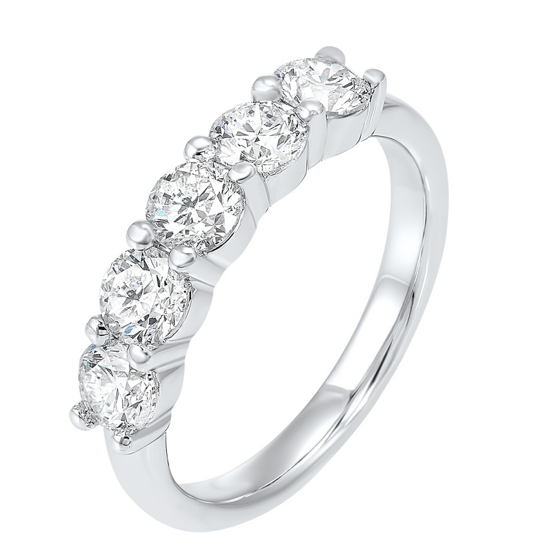 14K White Gold 5 Stone Shared Prong Diamond Band (1 1/2 ct. tw.) Moseley Diamond Showcase Inc Columbia, SC