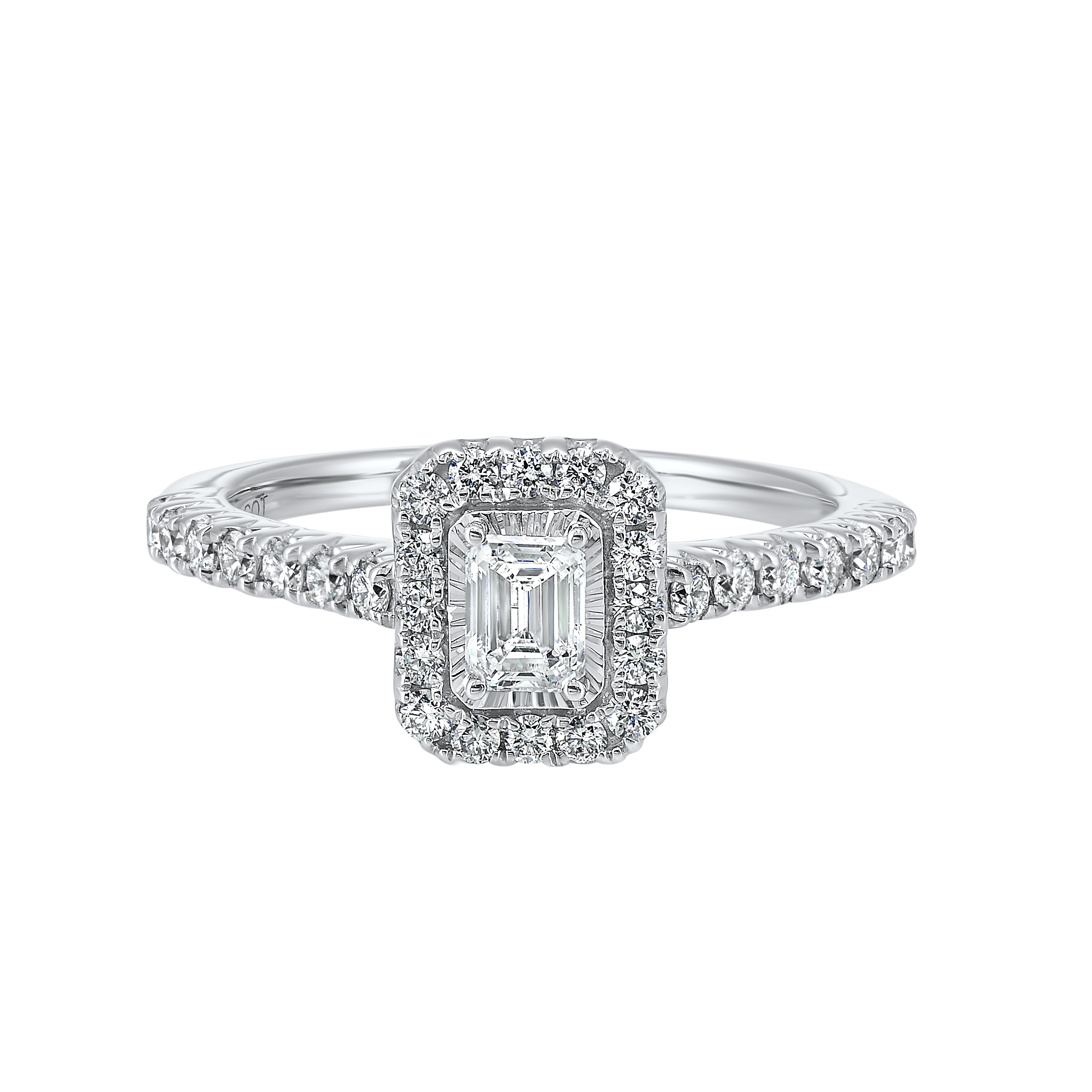 14K White Gold Tru-Reflections Emerald Halo Prong Ring (3/4 ct. tw.) Moseley Diamond Showcase Inc Columbia, SC