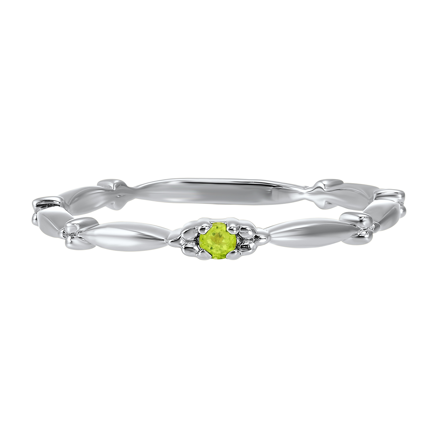 10K White Gold Stackable Prong Peridot Band Moseley Diamond Showcase Inc Columbia, SC