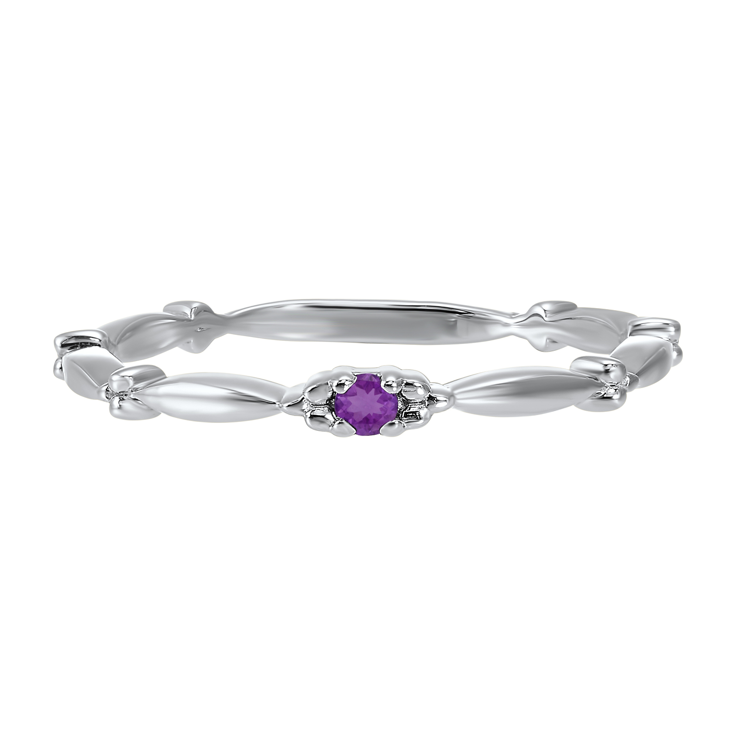 10K White Gold Stackable Prong Amethyst Band Moseley Diamond Showcase Inc Columbia, SC