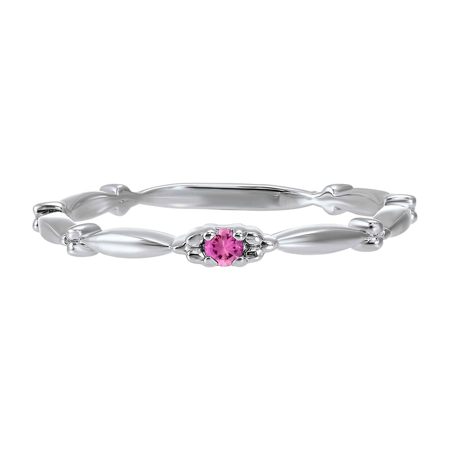 10K White Gold Stackable Prong Pink Tourmaline Band Moseley Diamond Showcase Inc Columbia, SC