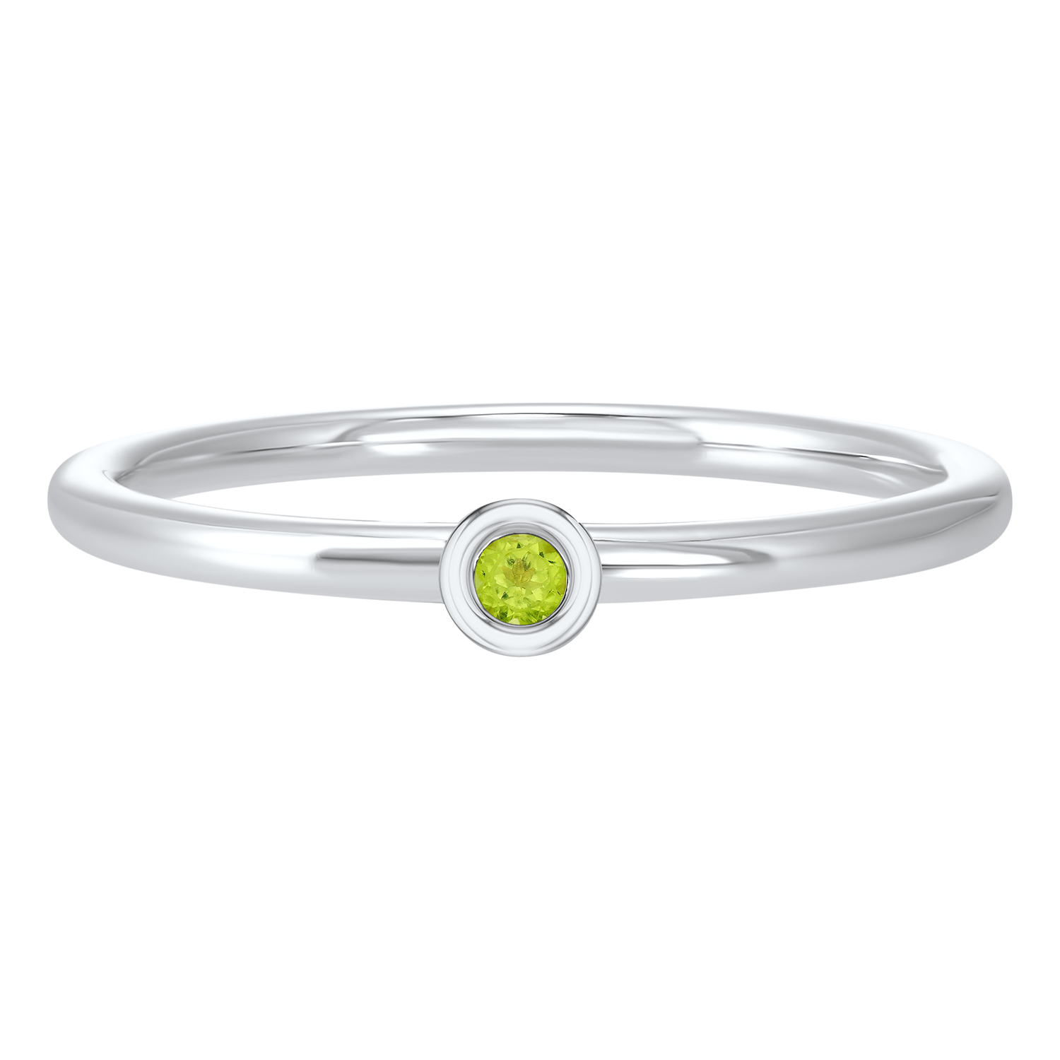 10K White Gold Stackable Bezel Peridot Band Moseley Diamond Showcase Inc Columbia, SC
