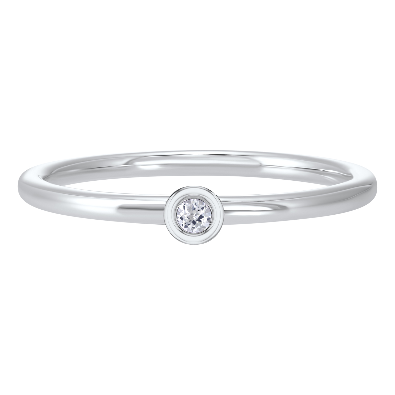 10K White Gold Stackable Bezel White Topaz Band Moseley Diamond Showcase Inc Columbia, SC