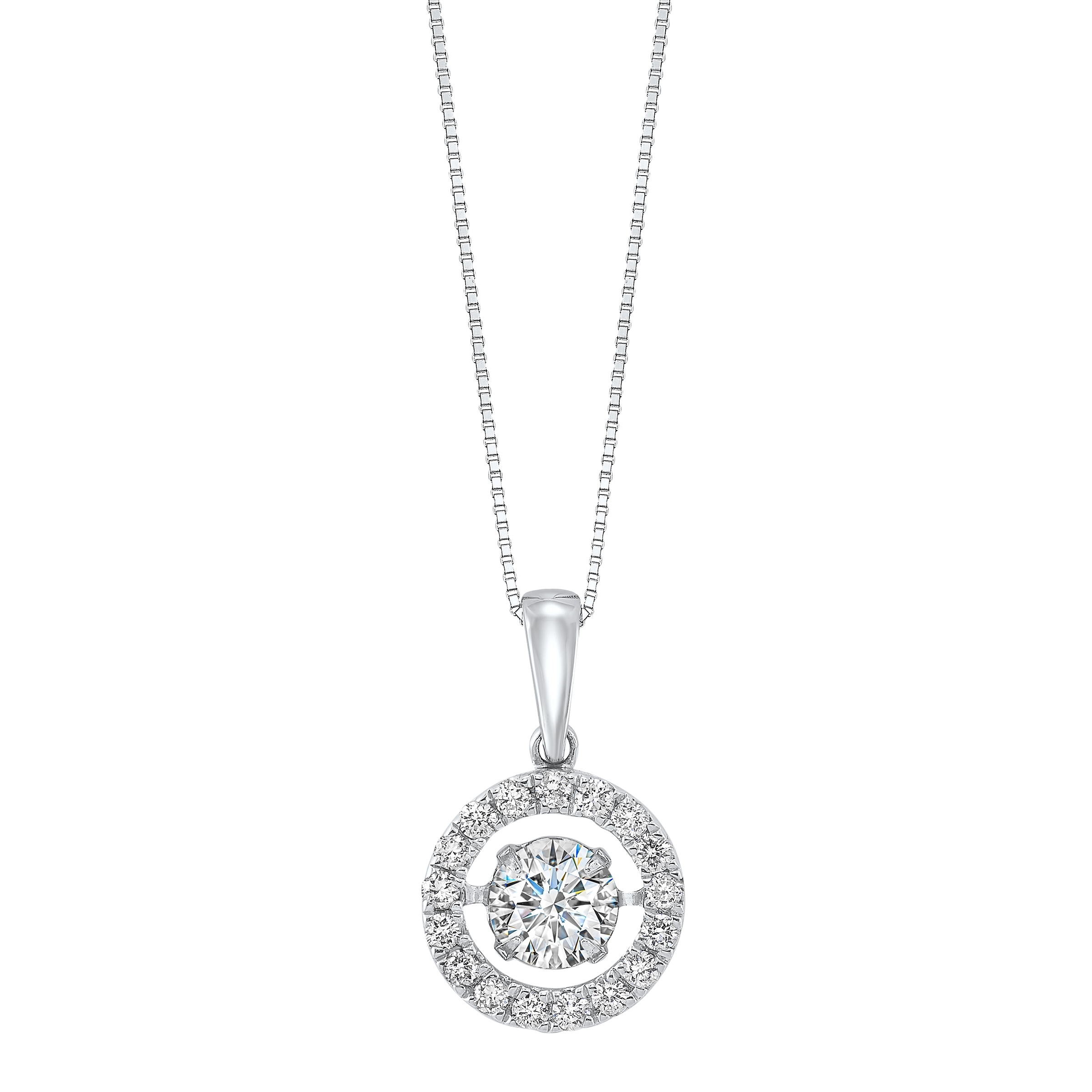 14K White Gold Rhythm of Love Halo Prong Diamond Pendant 3/4CT Moseley Diamond Showcase Inc Columbia, SC