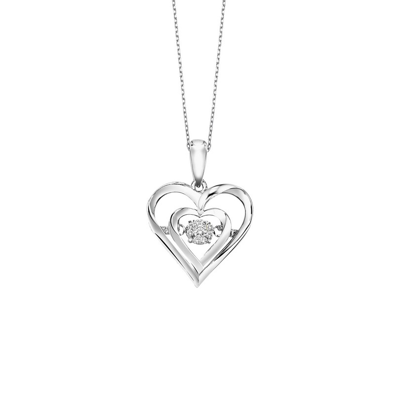 Sterling Silver Rhythm of Love Prong Diamond Necklace 1/50CT Moseley Diamond Showcase Inc Columbia, SC