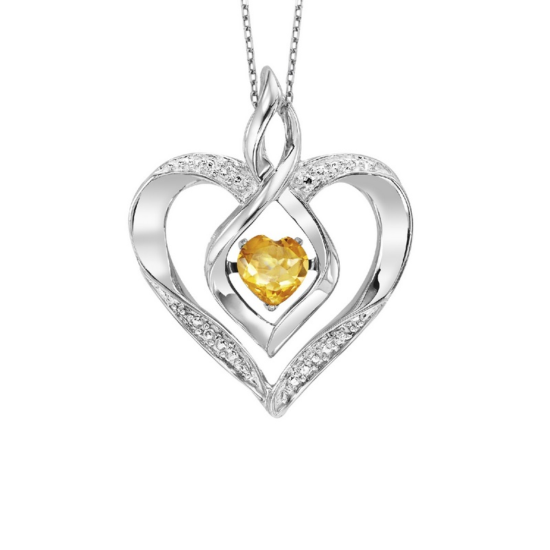 Sterling Silver Rhythm of Love Prong Citrine Necklace 1/250CT by Gems One