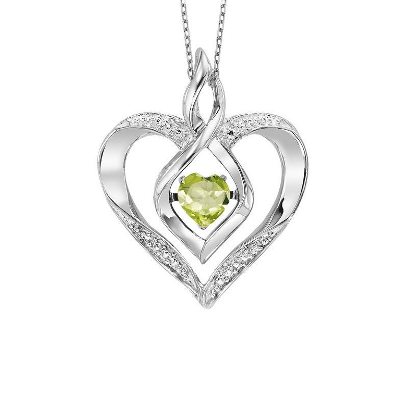 Sterling Silver Rhythm of Love Prong Peridot Necklace 1/250CT by Gems One