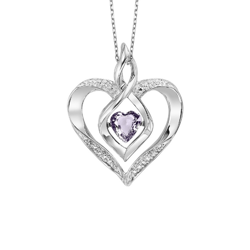 Sterling Silver Rhythm of Love Prong Alexandrite Necklace 1/250CT by Gems One