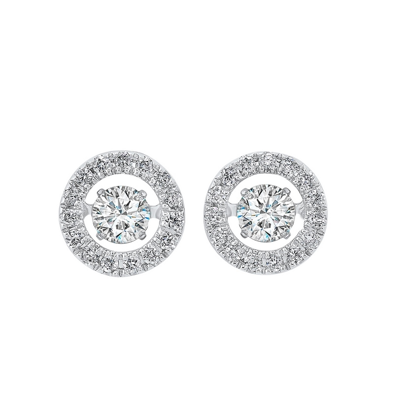 14K White Gold Rhythm of Love Halo Prong Diamond Earrings (1/2 ct. tw.) Moseley Diamond Showcase Inc Columbia, SC