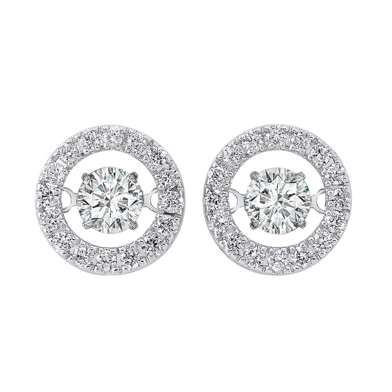 14K White Gold Rhythm of Love Halo Prong Diamond Earrings (1 ct. tw.) Moseley Diamond Showcase Inc Columbia, SC