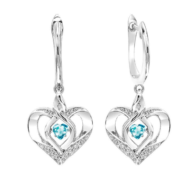 Sterling Silver Rhythm of Love Prong Blue Topaz Earrings Moseley Diamond Showcase Inc Columbia, SC
