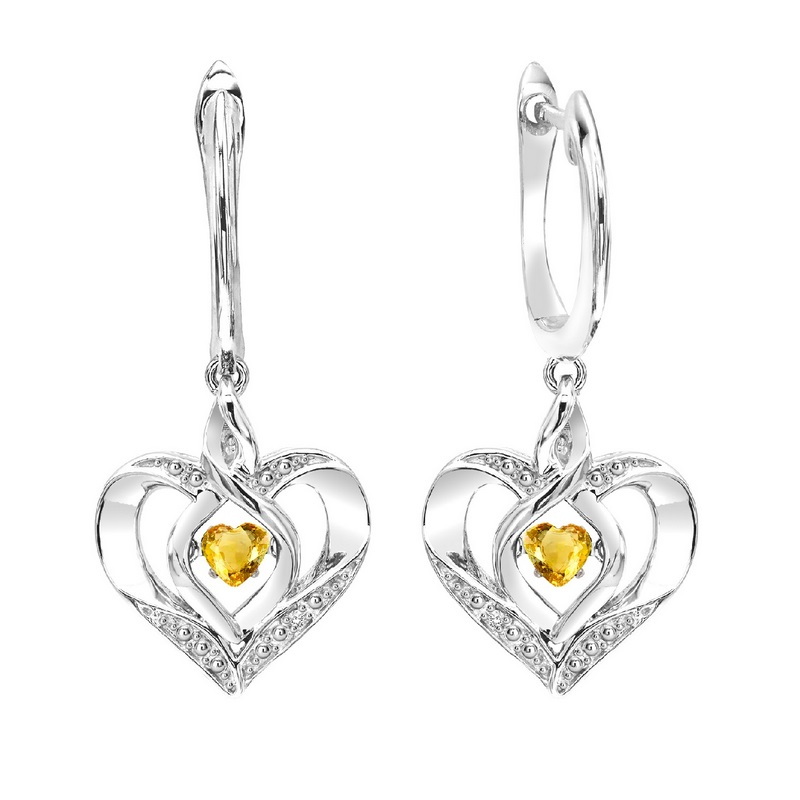 Sterling Silver Rhythm of Love Prong Citrine Earrings Moseley Diamond Showcase Inc Columbia, SC