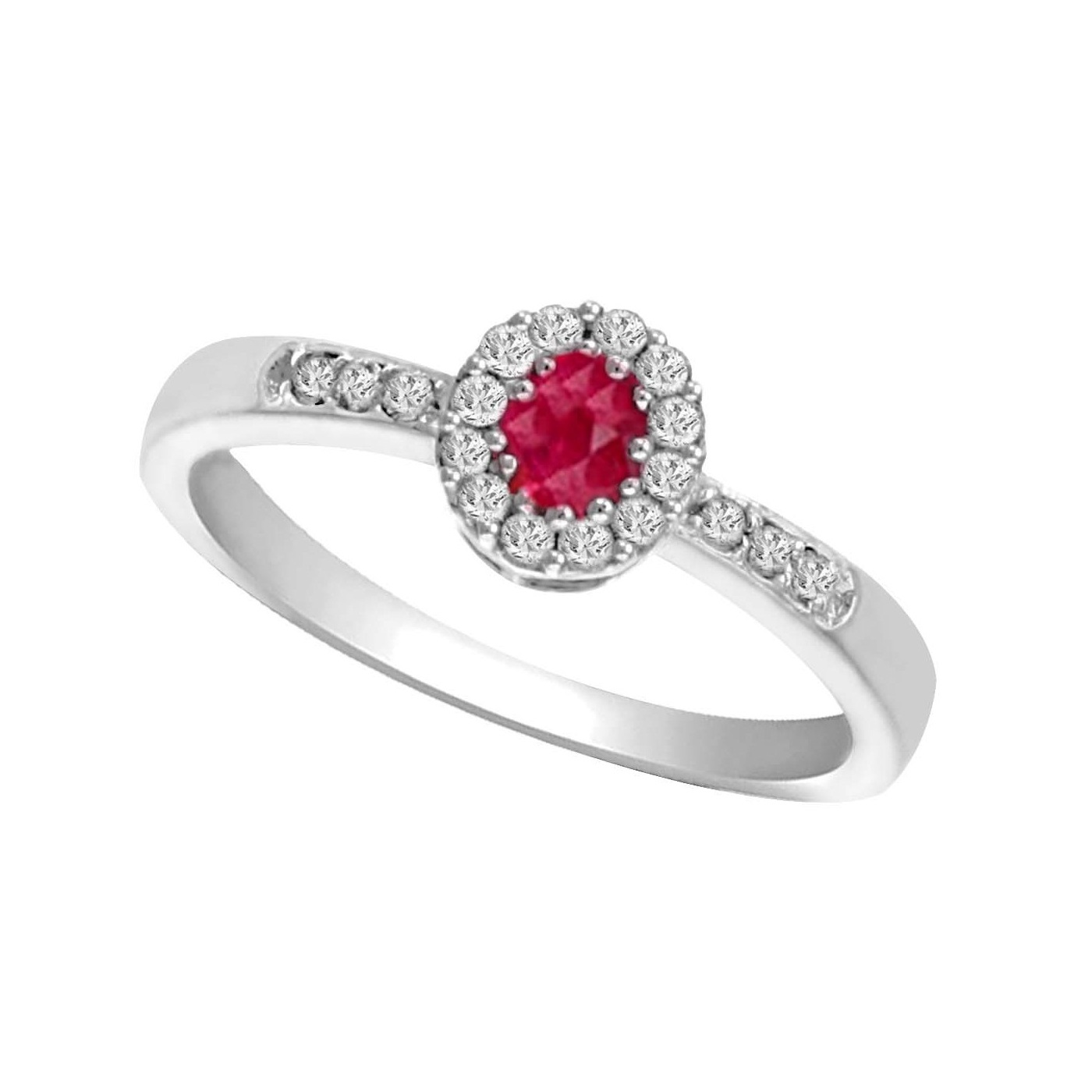 14K White Gold Color Ensembles Halo Prong Ruby Ring 1/6CT Moseley Diamond Showcase Inc Columbia, SC