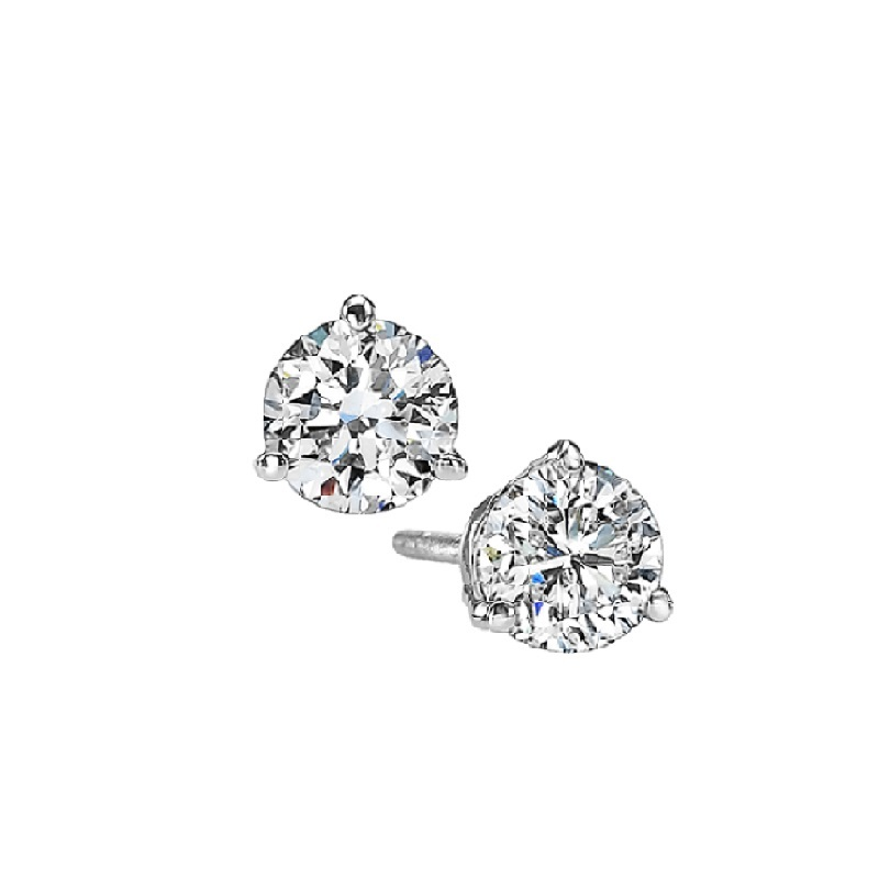 Martini Diamond Stud Earrings in 14K White Gold (1/8 ct. tw.) I1 - G/H Moseley Diamond Showcase Inc Columbia, SC