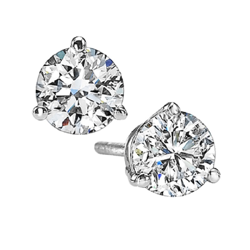 Martini Diamond Stud Earrings in 14K White Gold (1 1/2 ct. tw.) I1 - G/H Moseley Diamond Showcase Inc Columbia, SC