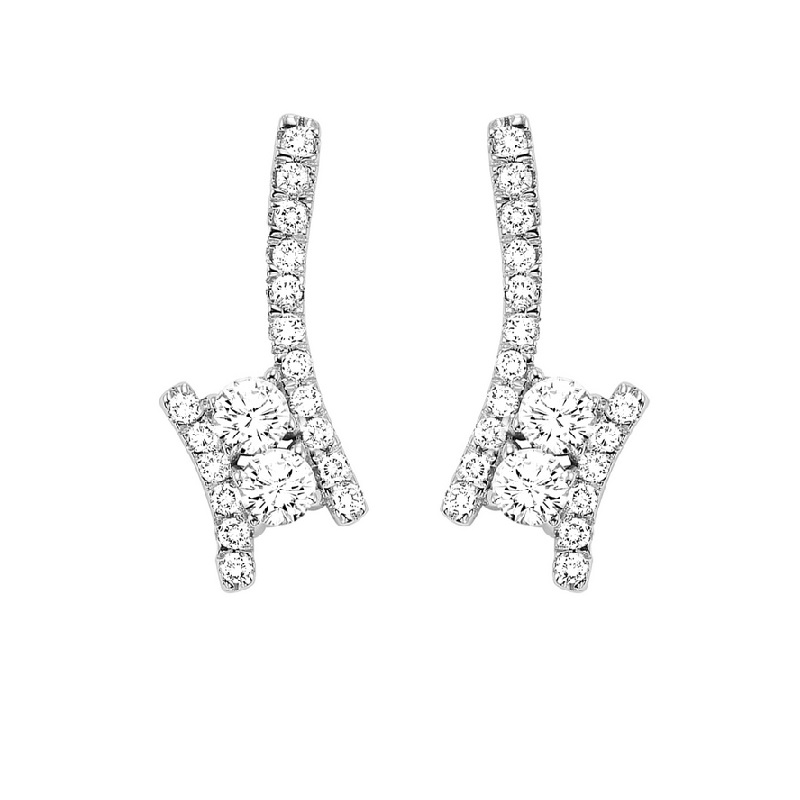 Twogether Diamond Drop Earrings in 14K White Gold (1/2 ct. tw.) Moseley Diamond Showcase Inc Columbia, SC