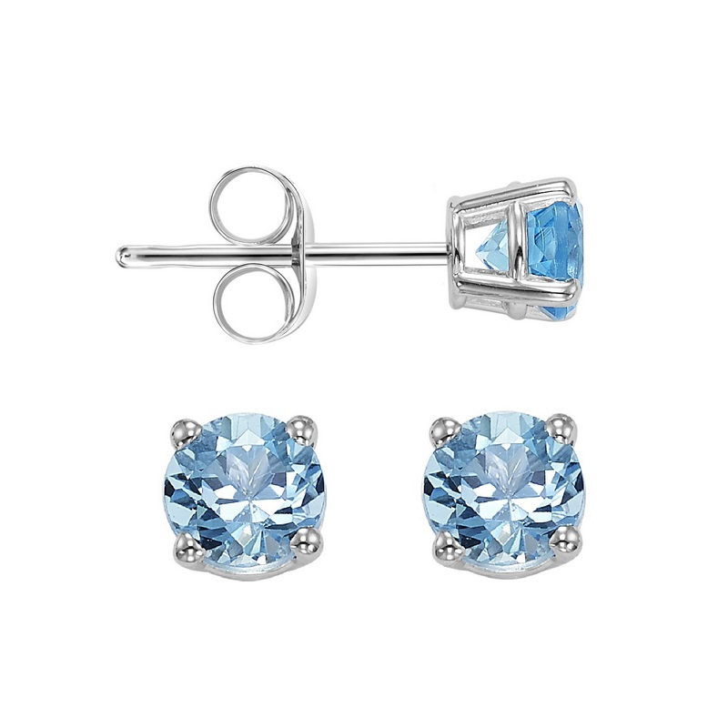 Four Prong Blue Topaz Studs in 14K White Gold (3 MM) by Gems One