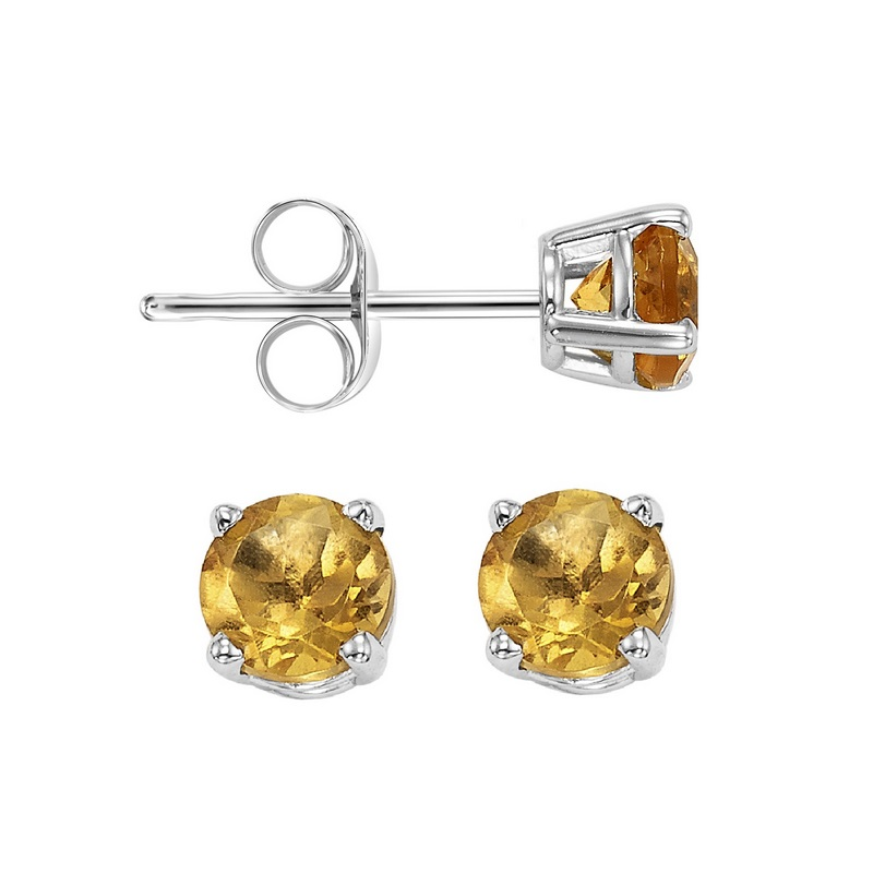 Four Prong Citrine Studs in 14K White Gold (3 MM) by Gems One
