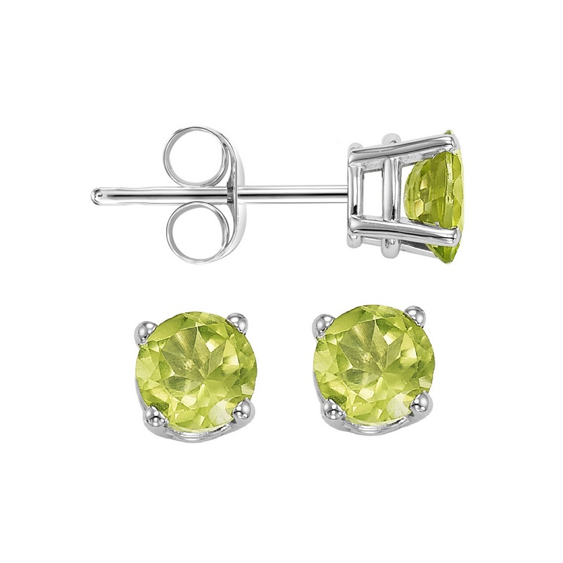 Four Prong Peridot Studs in 14K White Gold (3 MM) by Gems One