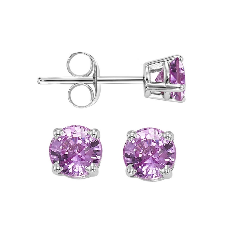 Four Prong Pink Sapphire Studs in 14K White Gold (3 MM) by Gems One