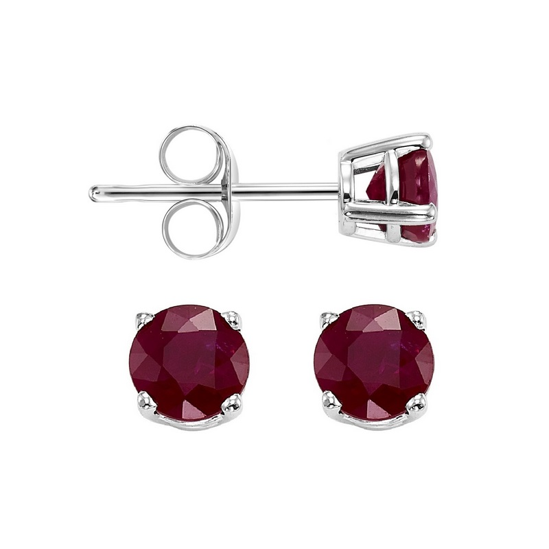 Four Prong Ruby Studs in 14K White Gold (3 MM) by Gems One