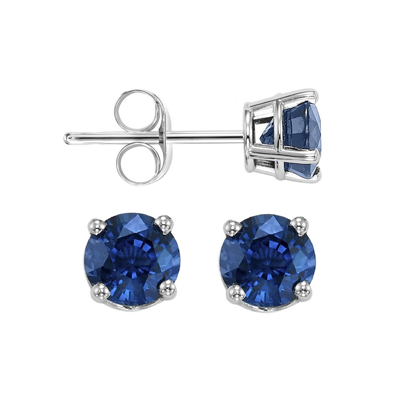 Four Prong Sapphire Studs in 14K White Gold (3 MM) by Gems One