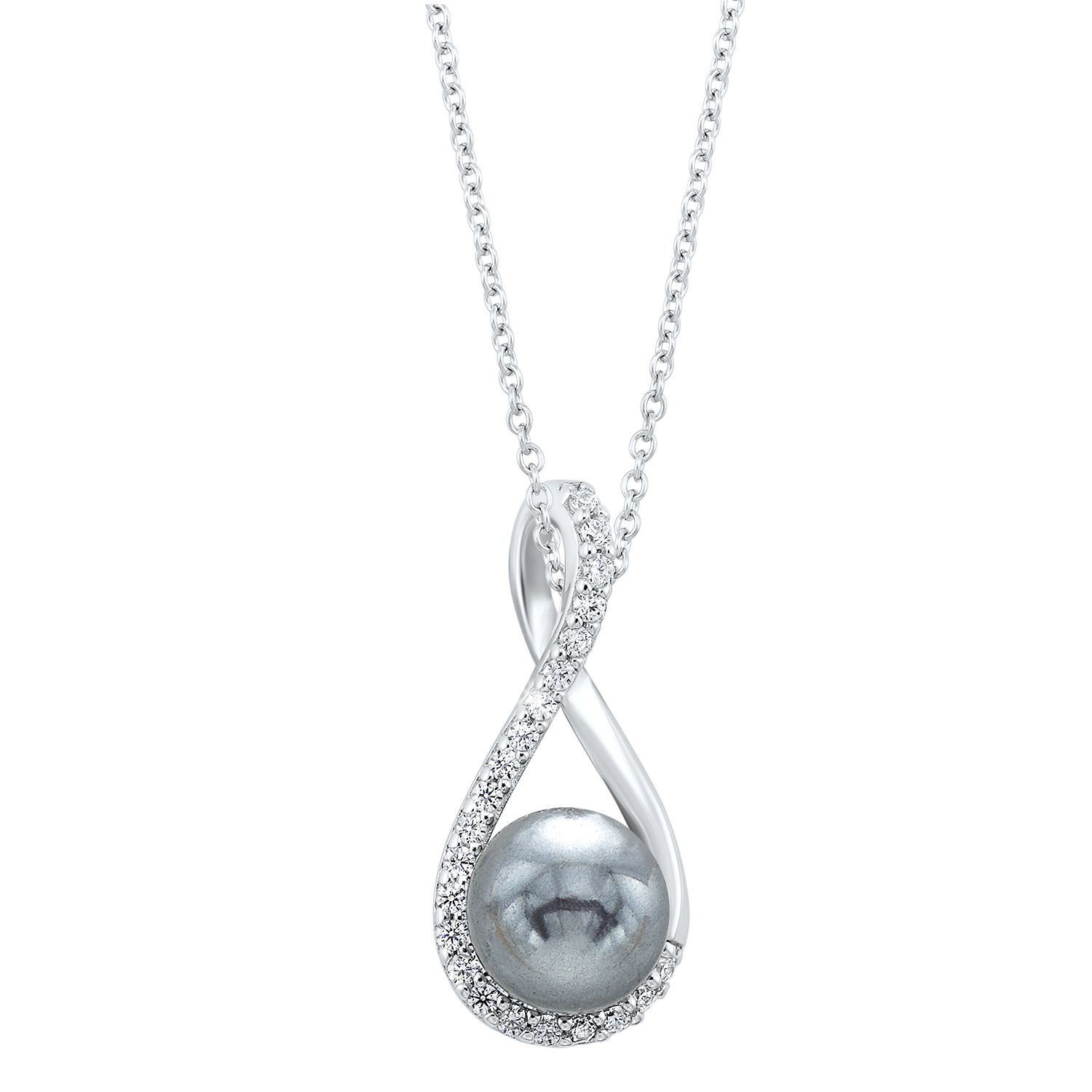Twisting Shell Pearl Pendant in Sterling Silver by Gems One