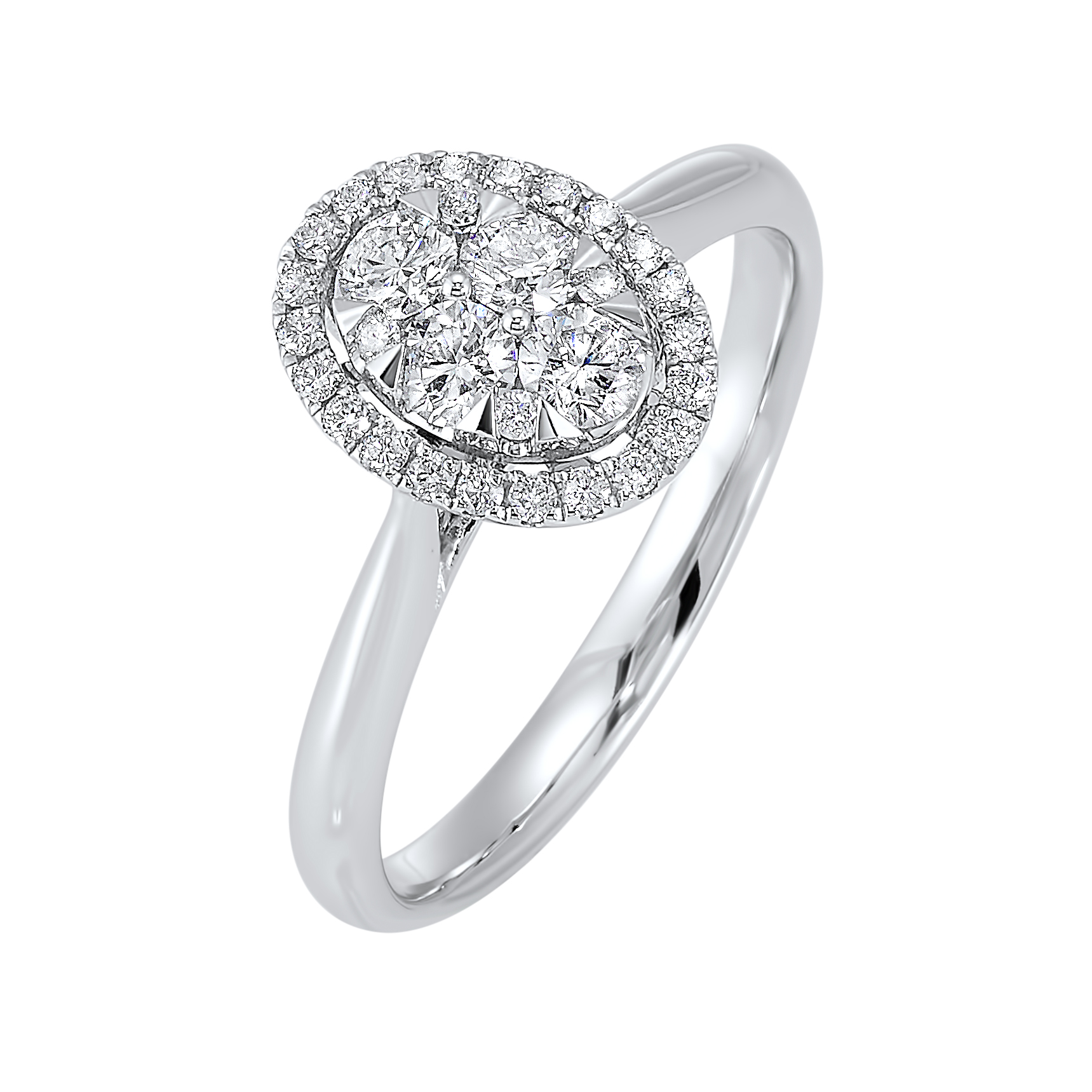 Oval Halo Diamond Engagement Ring in 14K White Gold (1/4 ct. tw.) by Gems One