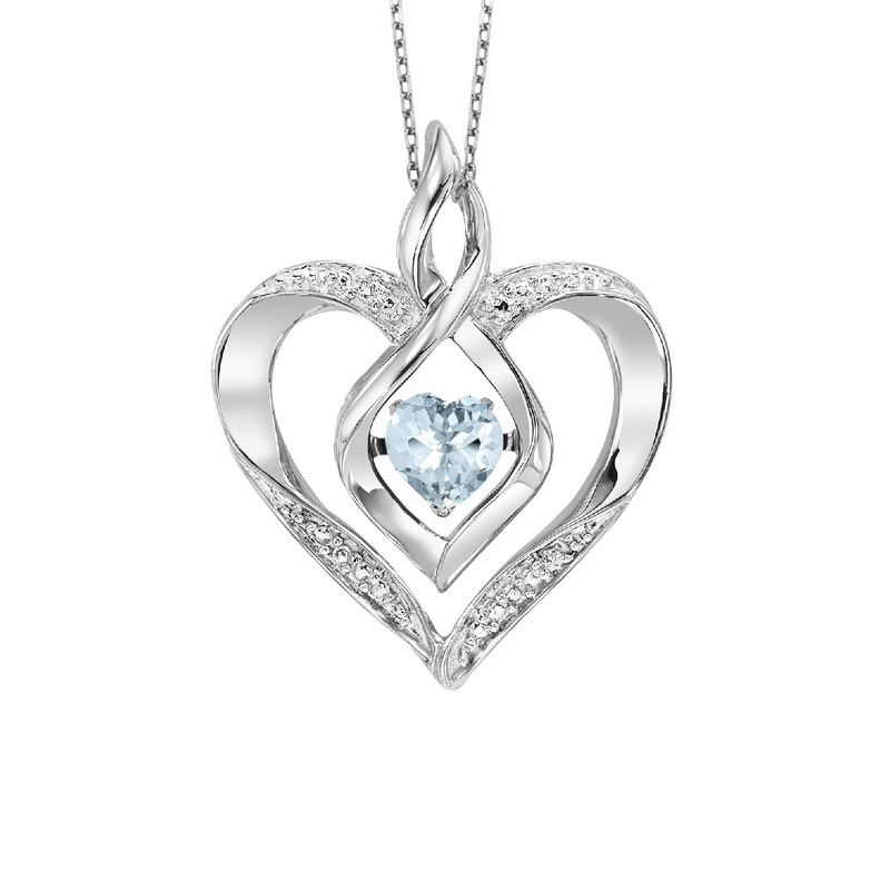 Silver Diamond & Created Aqua Pendant - This Silver Rhythm of Love pendant features a cut-out Silver heart pendant set with 7 round-cut diamonds and an Created Aquamarine gemstone at center.