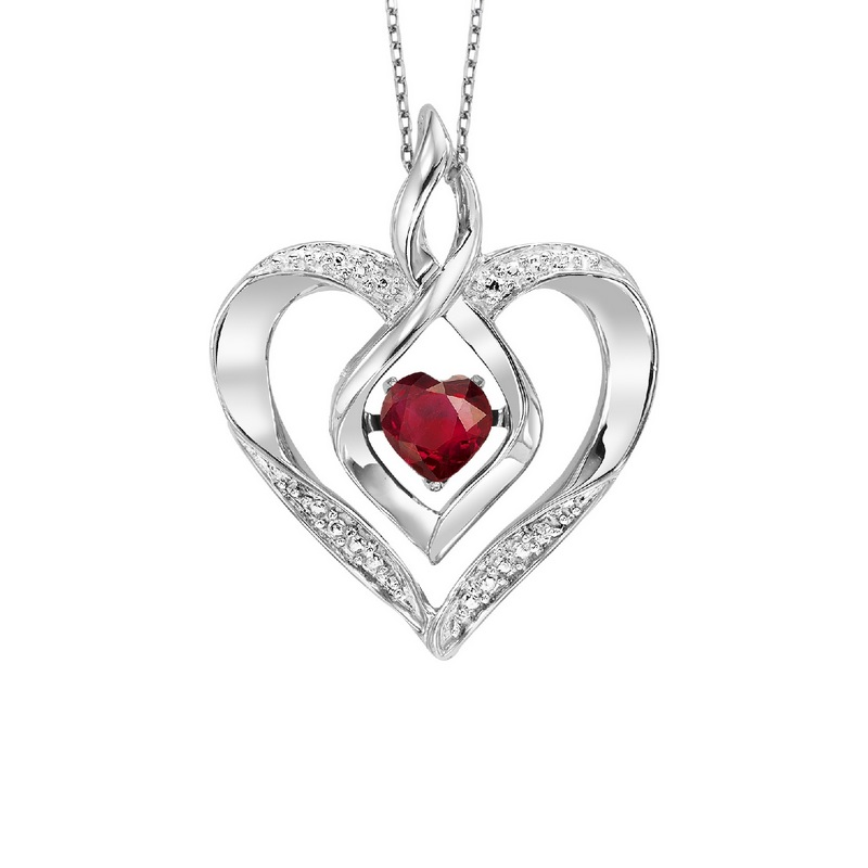 Silver Created Garnet & Diamond Pendant - This Silver Rhythm of Love pendant features a cut-out Silver heart pendant set with 7 round-cut diamonds and a Created Garnet gemstone at center.