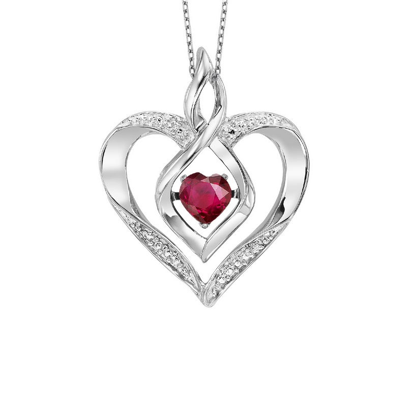 Silver Created Ruby & Diamond Pendant - This Silver Rhythm of Love pendant features a cut-out Silver heart pendant set with 7 round-cut diamonds and a Created Ruby gemstone at center.