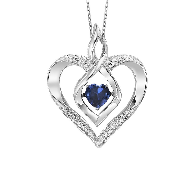 Silver Created Sapphire & Diamond Pendant by Rhythm of Love