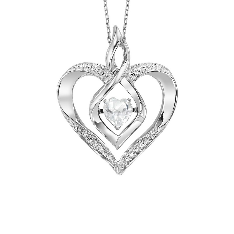 Silver Created W.Topaz & Diamond Pendant - This Silver Rhythm of Love pendant features a cut-out Silver heart pendant set with 7 round-cut diamonds and a Created White Topaz gemstone at center.
