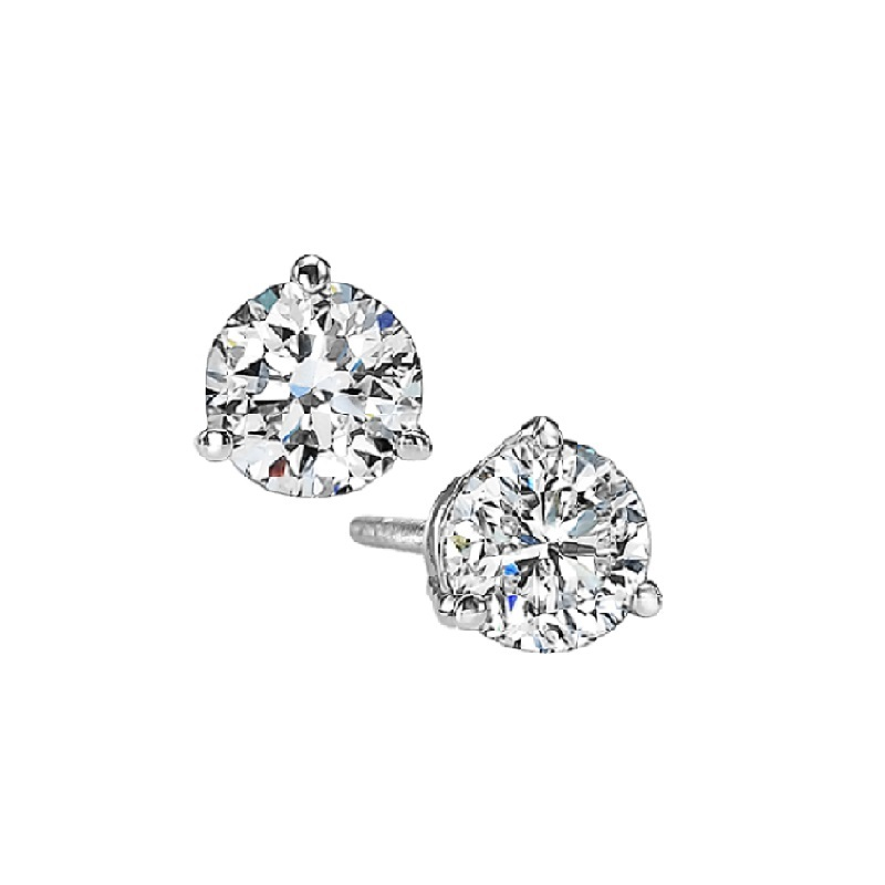 Martini Diamond Stud Earrings in 14K White Gold (1/4 ct. tw.) I1 - G/H by Gems One
