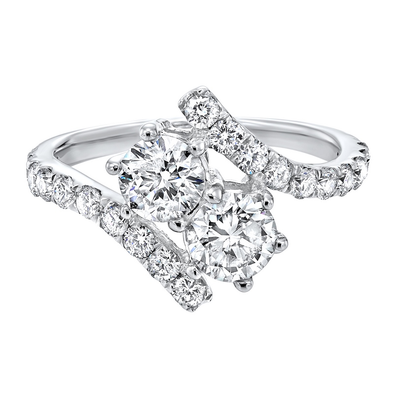 Twogether Two Stone Diamond Ring in 14K White Gold (1 1/2 ct. tw.) by Gems One