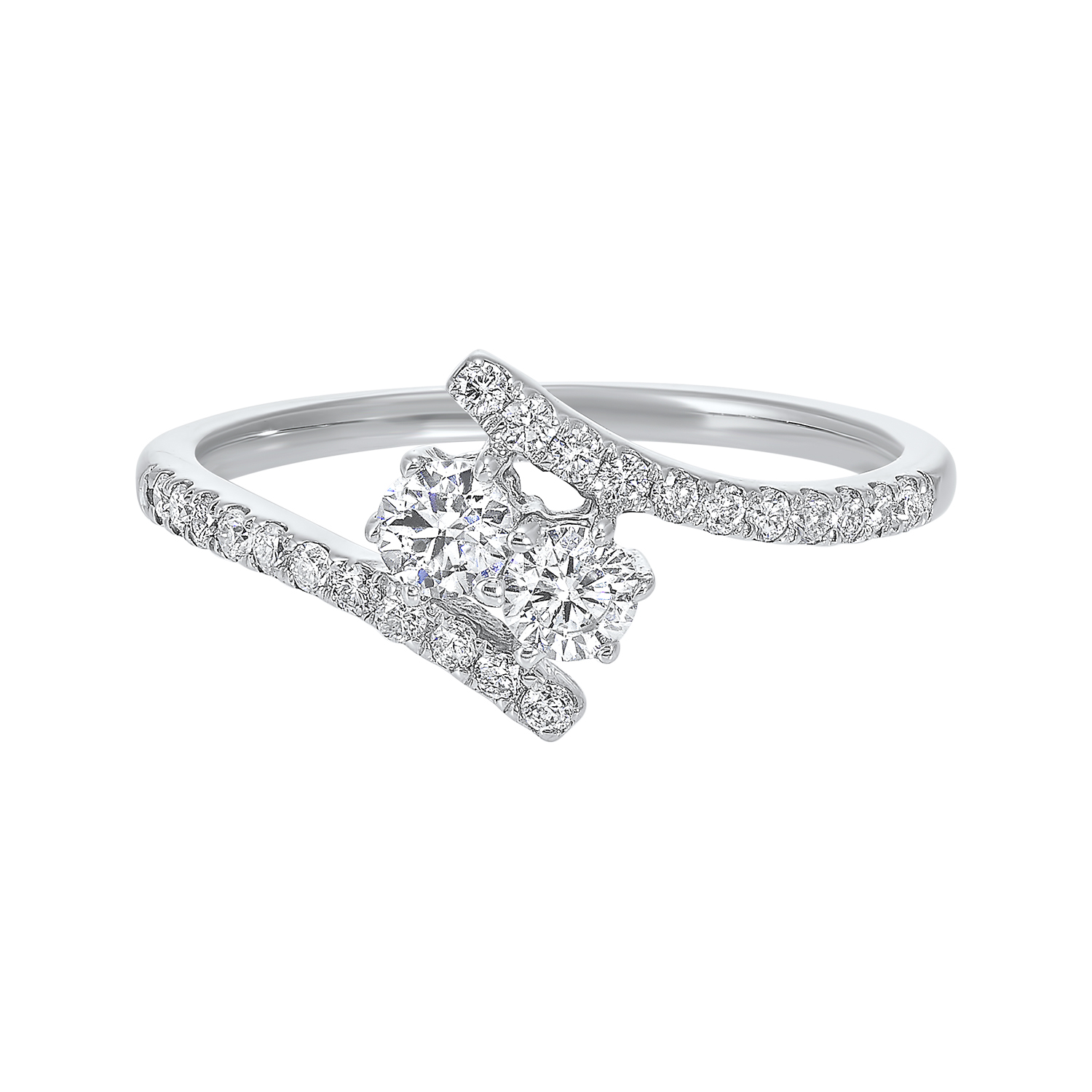 Twogether Two Stone Diamond Ring in 14K White Gold (1/2 ct. tw.) by Gems One